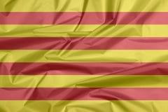 Флаг ткани Каталонии Залом предпосылки флага Catalunya иллюстрация вектора