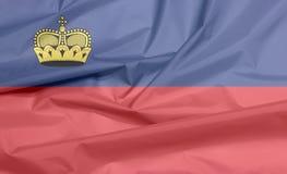 Флаг ткани Лихтенштейна Залом предпосылки флага Liechtensteiner иллюстрация вектора