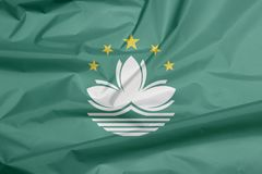 Флаг ткани Макао Залом предпосылки флага Макао иллюстрация вектора