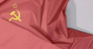 Флаг ткани Советского Союза крепирует и залом с белым космосом иллюстрация вектора