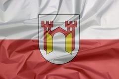 Флаг ткани Offenburg Залом предпосылки флага Offenburg, оно в Баден-Wurttemberg иллюстрация штока