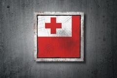 Флаг Тонги в бетонной стене иллюстрация штока