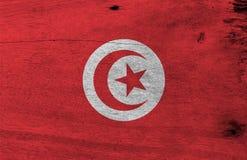 Флаг Туниса на деревянной предпосылке плиты  иллюстрация вектора
