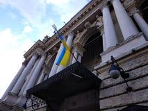 Флаг Украины на поляке на стене здания стоковое фото rf