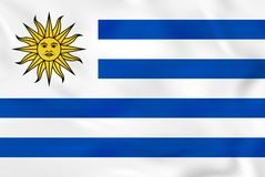 Флаг Уругвая развевая Текстура предпосылки национального флага Уругвая иллюстрация штока