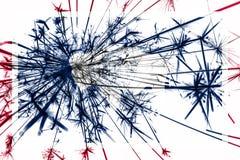 Флаг фейерверков Вайоминга сверкная Концепция Нового Года 2019 и рождественской вечеринки положения флагов америки соединили стоковое фото