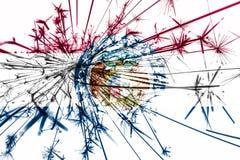 Флаг фейерверков Миссури сверкная Концепция Нового Года 2019 и рождественской вечеринки положения флагов америки соединили иллюстрация штока