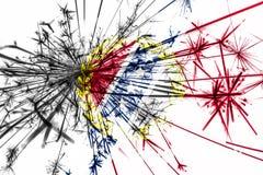 Флаг фейерверков Монтгомери, Алабамы сверкная Концепция Нового Года 2019 и рождественской вечеринки положения флагов америки соед иллюстрация штока