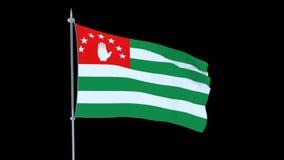 Абхазия Флаг флаттеров страны на черной предпосылке видеоматериал