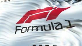 Флаг формулы 1 развевая на солнце Безшовная петля с сильно детальной текстурой ткани Петля готовая в разрешении 4k иллюстрация вектора