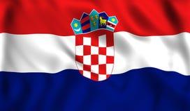 Флаг Хорватии развевая в символе ветра страны Хорватии бесплатная иллюстрация
