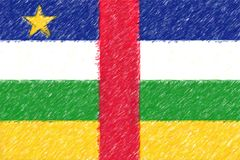 Флаг центрально-африканской текстуры предпосылки o Rep, карандаш цвета иллюстрация штока