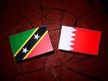 Флаг Чент-Китс и Невис с бахрейнским флагом на пне дерева Стоковые Изображения