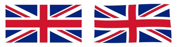 Флаг Юниона Джек Соединенного Королевства Великобритании и Северной Ирландии Простая и немножко развевая версия иллюстрация штока