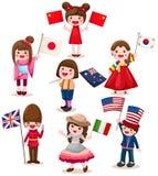 флаг детей держа комплект international Стоковые Фото
