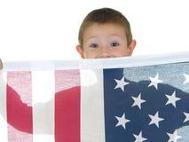 флаг 2 мальчика Стоковая Фотография RF