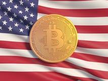 Флаг Bitcoin золотой монетки на фоне Danmark Символическое изображение виртуальной валюты бесплатная иллюстрация