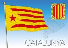 Flag Catalunya Gerb I Karta Ispaniya Illyustraciya Vektora