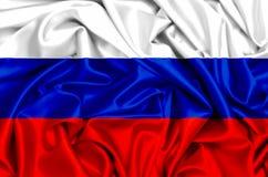 флаг 3d России развевая в ветре Стоковые Фото