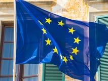 Флаг EC Европейского союза развевая в ветре стоковая фотография rf