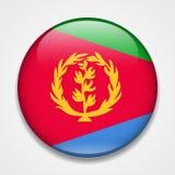 флаг eritrea Круглый лоснистый значок иллюстрация штока