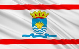 Флаг Florianopolis в Санта-Катарина, Бразилии иллюстрация вектора