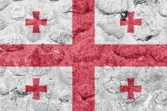 Флаг Georgia на каменной стене иллюстрация вектора