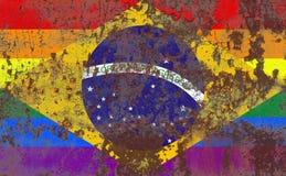 Флаг grunge гомосексуалиста Бразилии, флаг Бразилии Стоковая Фотография RF