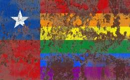 Флаг grunge гомосексуалиста Чили, флаг Чили Стоковое Изображение RF