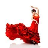 Фламенко танцев молодой женщины Стоковая Фотография