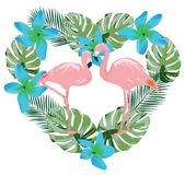 Фламинго вектора, тропические цветки и форма сердца листьев ладони Стоковое фото RF