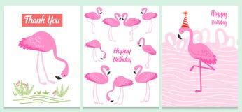 Фламинго или тропическая иллюстрация птиц для карточки партии Предпосылка лета экзотическая Винтажный милый праздник знамени или  Стоковое Изображение RF