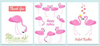 Фламинго или тропическая иллюстрация птиц для карточки партии Предпосылка лета экзотическая Винтажный милый праздник знамени или  Стоковая Фотография RF