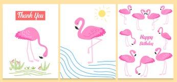 Фламинго или тропическая иллюстрация птиц для карточки партии Предпосылка лета экзотическая Винтажный милый праздник знамени или  Стоковые Изображения RF