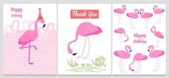 Фламинго или тропическая иллюстрация птиц для карточки партии Предпосылка лета экзотическая Винтажный милый праздник знамени или  Стоковая Фотография
