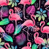Фламинго и листья ладони бесплатная иллюстрация