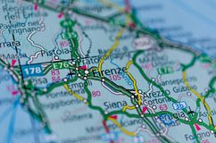 Флоренс на карте Стоковое Изображение RF