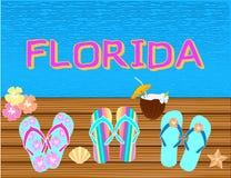 Флорида помечая буквами письма вектора тропические, со значками пляжа на backround открытого моря стоковая фотография