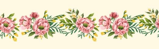 Флористическая безшовная граница с пионами и сладкими горохами бесплатная иллюстрация