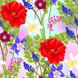 Флористическая безшовная картина, предпосылка с весной цветет бесплатная иллюстрация