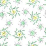 Флористическая безшовная картина сделанная из стилизованных цветков иллюстрация вектора
