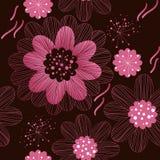 Флористическая безшовная картина с большими стилизованными цветками бесплатная иллюстрация