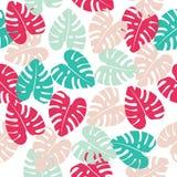 Флористическая безшовная картина с листьями предпосылка тропическая Стоковая Фотография