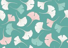 Флористическая безшовная картина с листьями gingko вектор иллюстрация штока