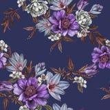Флористическая безшовная картина с пионами акварели, жасмин, тюльпаны и подняла Стоковая Фотография RF