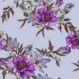 Флористическая безшовная картина с пионами акварели, жасмин, тюльпаны и подняла Стоковая Фотография