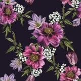 Флористическая безшовная картина с пионами, жасмином и тюльпанами акварели иллюстрация вектора