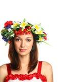 флористическая девушка гирлянды Стоковая Фотография