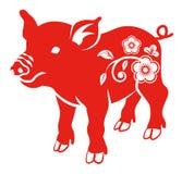 Флористическая декоративная свинья, плоское искусство зажима иллюстрация вектора