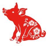 Флористическая декоративная свинья - сидящ иллюстрация вектора